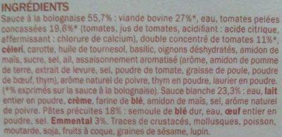 Lasagnes bolognaise surgelées - Ingrédients - fr
