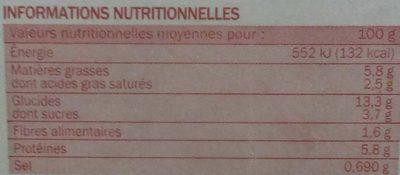 Lasagnes bolognaise surgelées - Informations nutritionnelles - fr