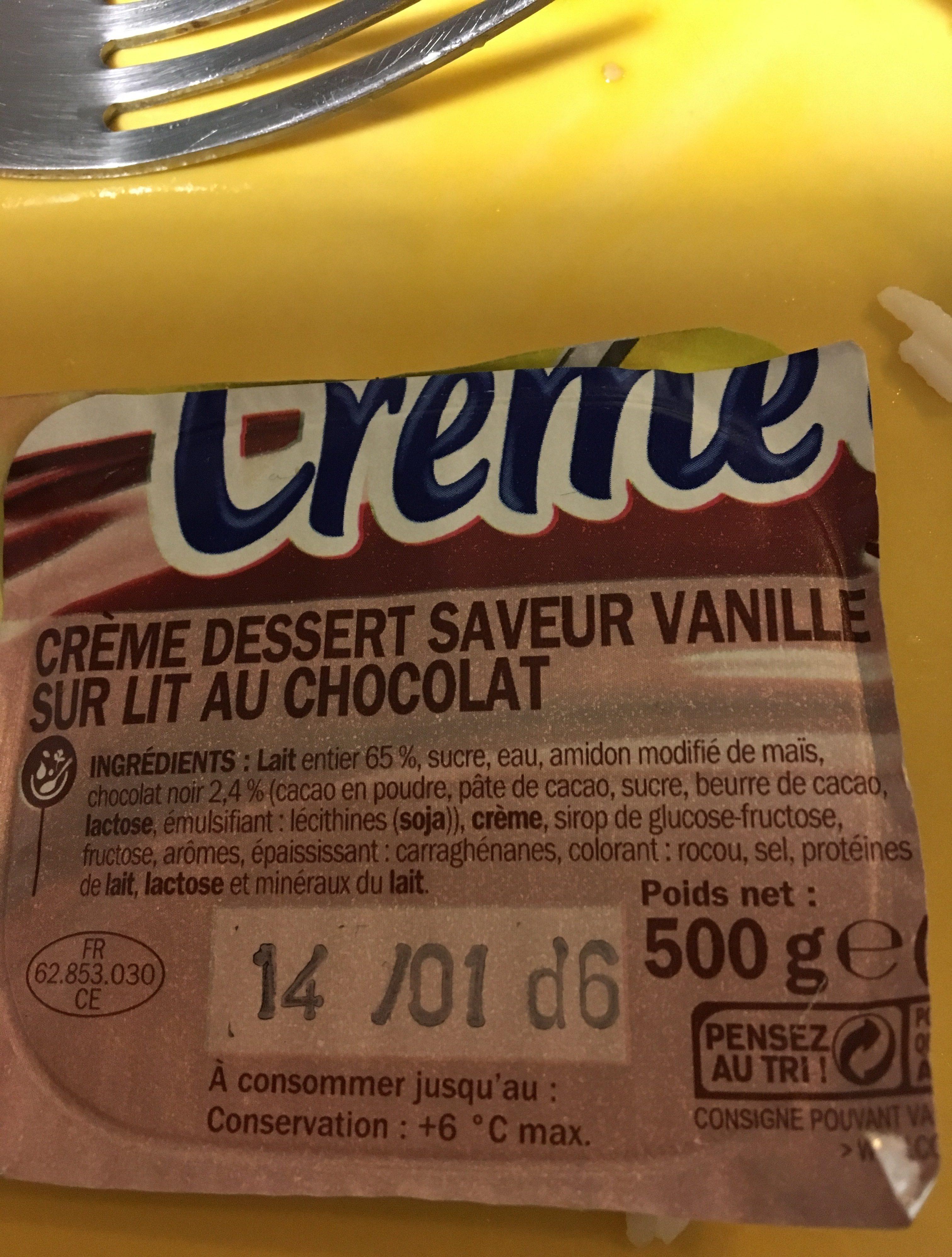 Crème dessert vanille sur lit de chocolat - Ingrédients - fr