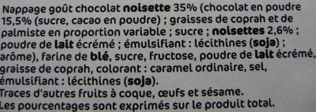 Sarbacanes nappage chocolat noisette - Ingrediënten