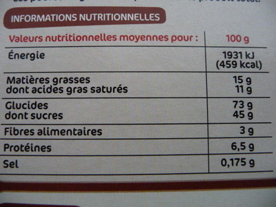 Sarbacanes nappage chocolat noisette - Voedigswaarden