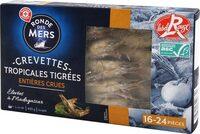 Crevettes géantes tigrées crues de Madagascar 16/24 Label Rouge ASC - boîte - Produit