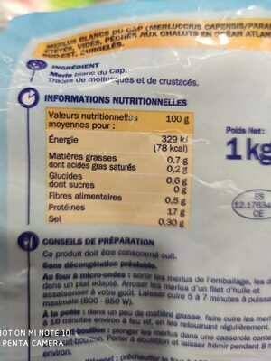 Merlus blancs - Nutrition facts - fr