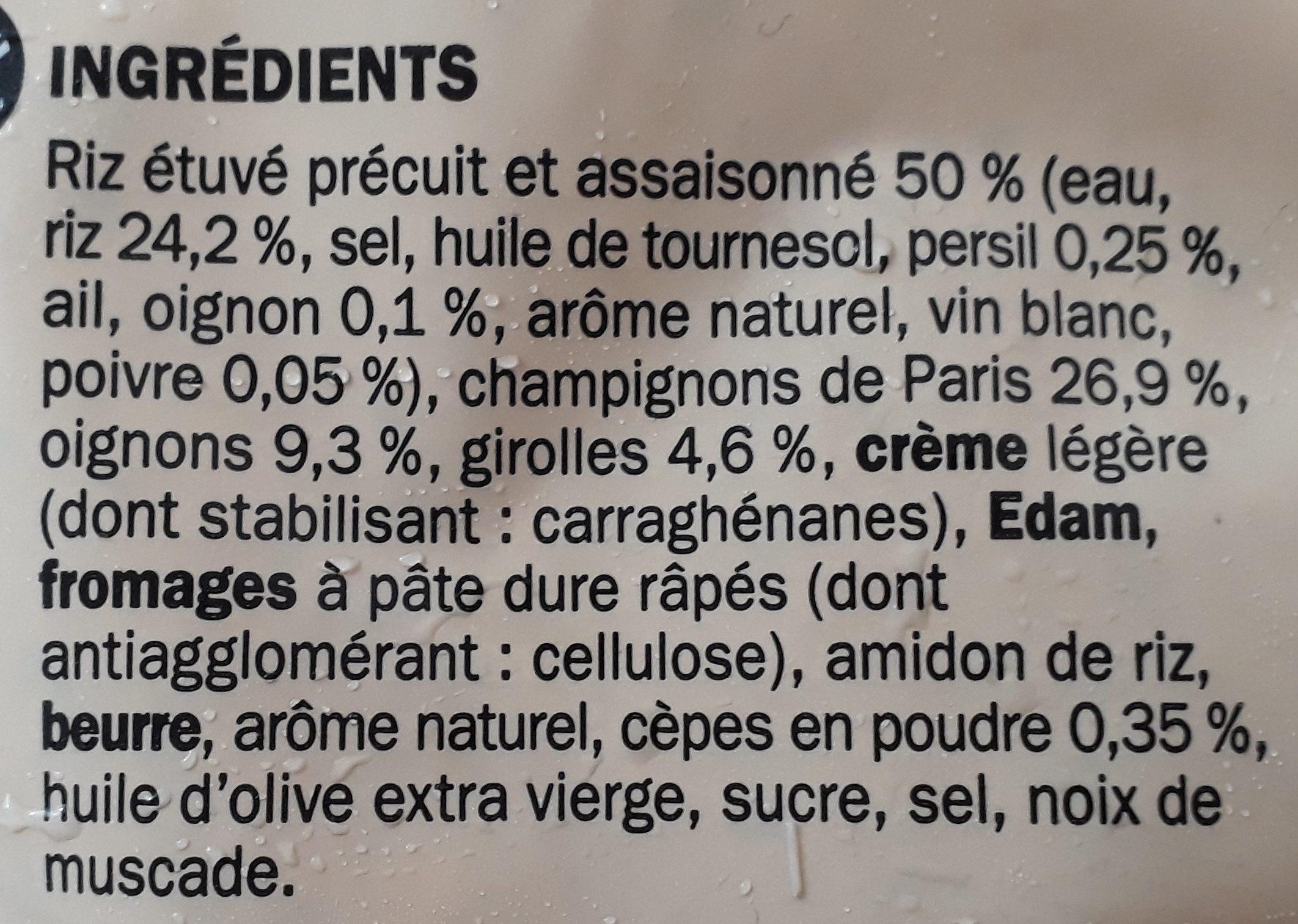 Risotto aux champignons portionnable surgelé - Ingrédients