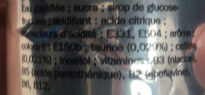 Boisson gazeuse énergisante - Ingrédients