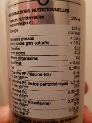Boisson gazeuse énergisante - Informations nutritionnelles