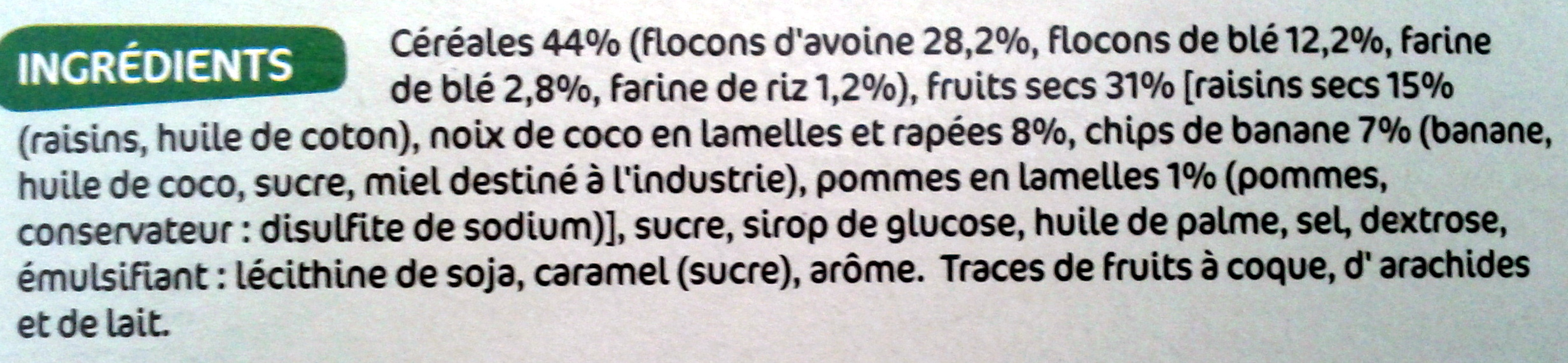 Muesli - Croustillant aux fruits - Ingrédients - fr