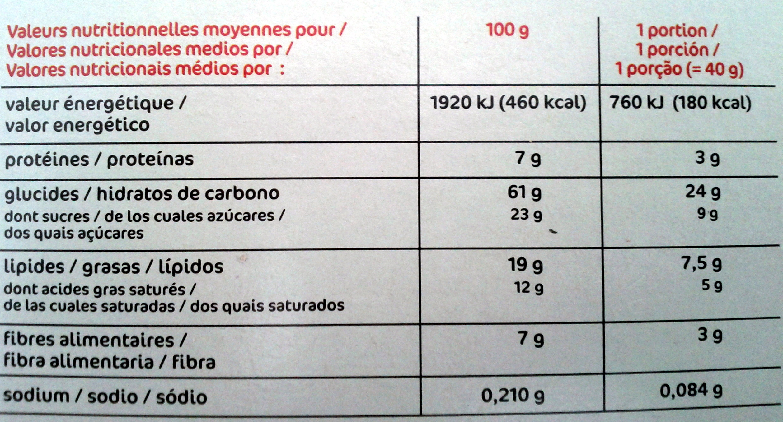 Muesli Croustillant aux fruits - Nutrition facts