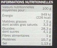Pizza chorizo cuite sur pierre pâte fine - Informations nutritionnelles - fr