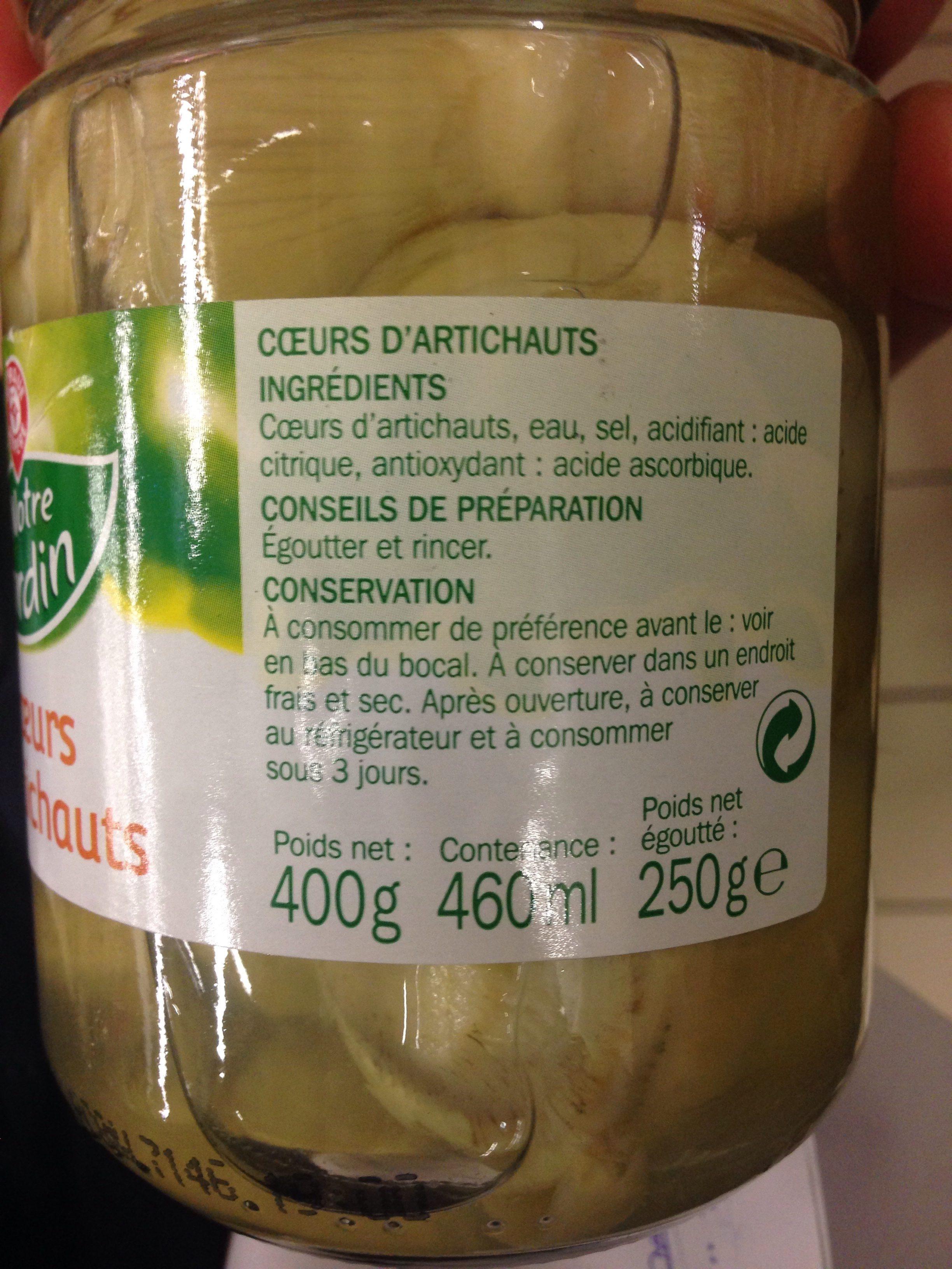 Coeurs d'artichauts - Ingrédients - fr