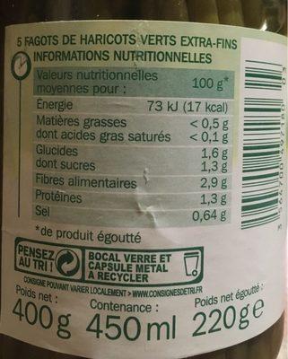 Fagots haricots verts extra fins x 5 - Informations nutritionnelles - fr