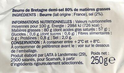 Beurre de Bretagne demi-sel 80% Mat. Gr. - Ingrédients