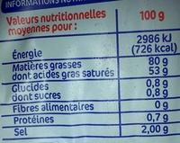 Beurre de Bretagne demi-sel 80% Mat. Gr. - Informations nutritionnelles