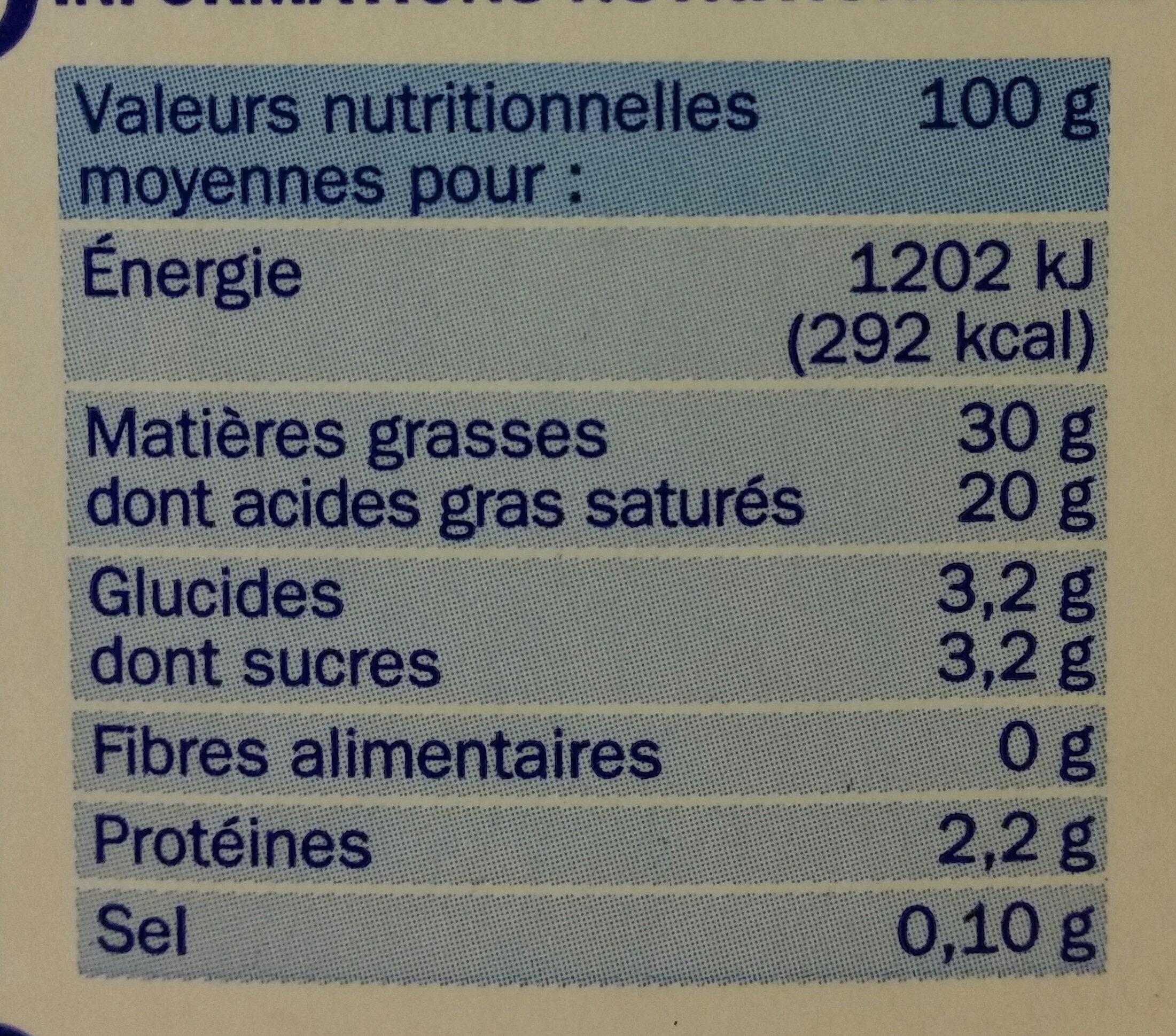Crème entière 30% UHT - Valori nutrizionali - fr