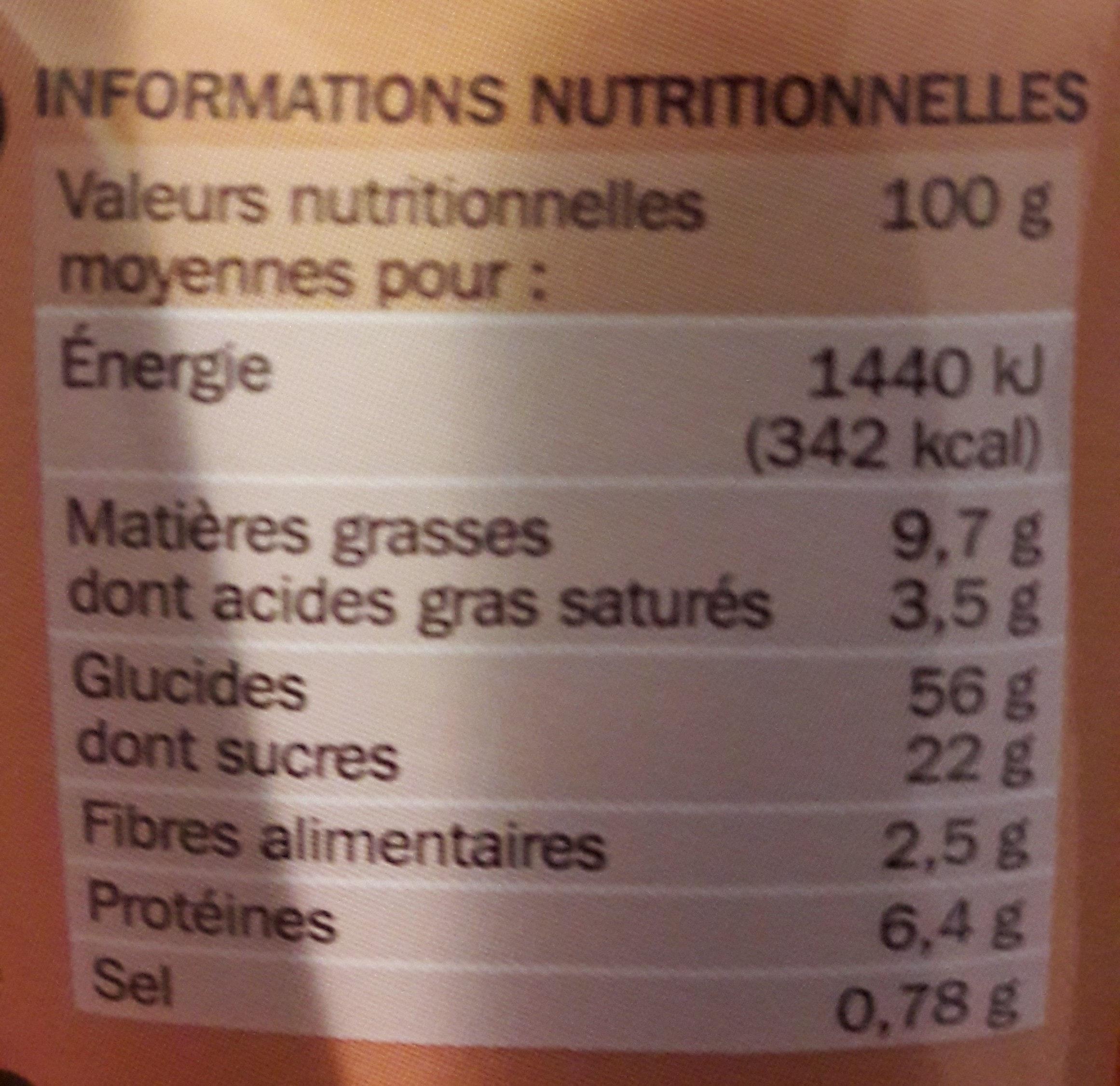 Brioches fourrées au chocolat x 8 - Voedingswaarden - fr
