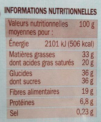 Chocolat au lait allégé en sucre - Voedingswaarden - fr
