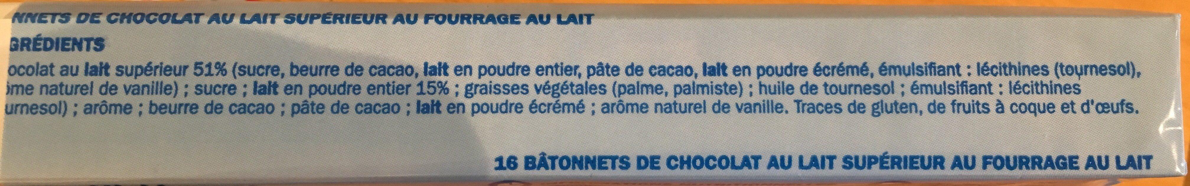Mini-barres chocolatées fourrées au lait x 16 - Ingrédients - fr