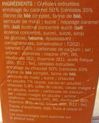 Céréales croquantes Caramel Chocolat - Ingredients