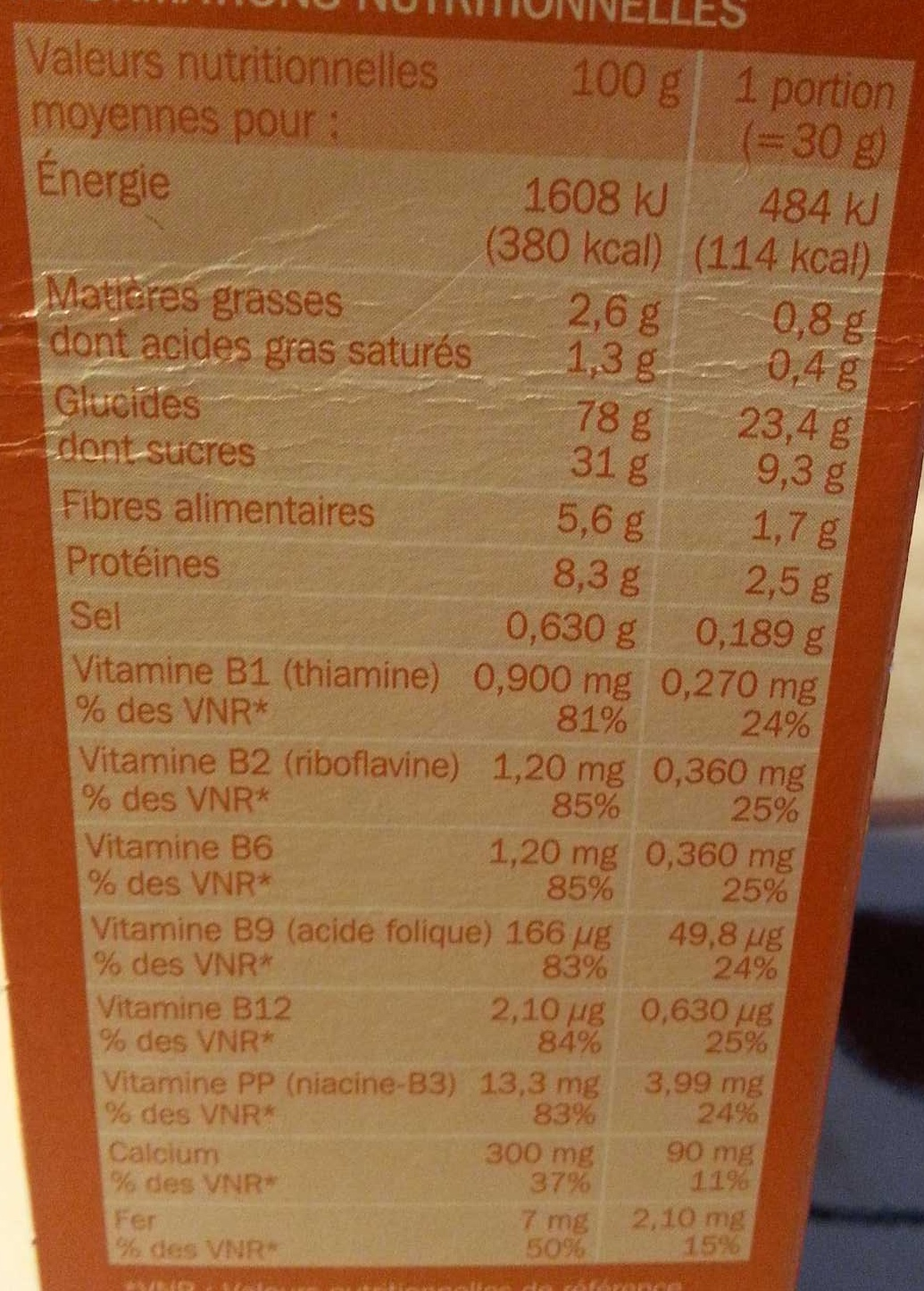 Céréales croquantes Caramel Chocolat - Nutrition facts
