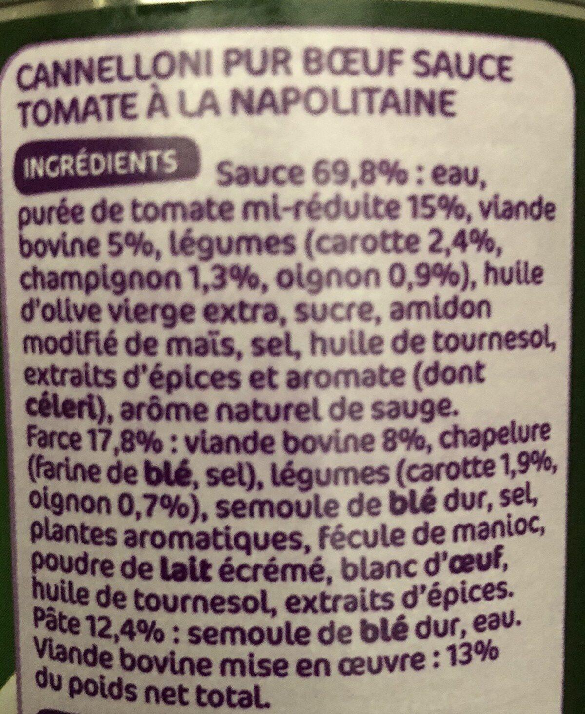 Cannelloni pur boeuf sauce napolitaine - Ingrédients - fr
