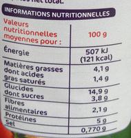 Cannelloni pur boeuf sauce napolitaine - Informations nutritionnelles - fr