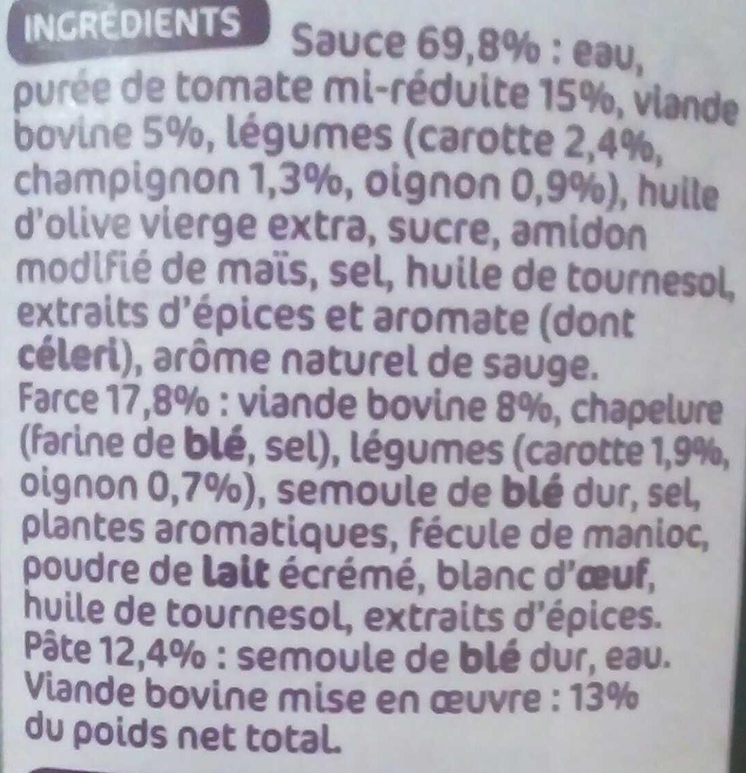 Cannelloni pur boeuf sauce napolitaine - Ingrédients