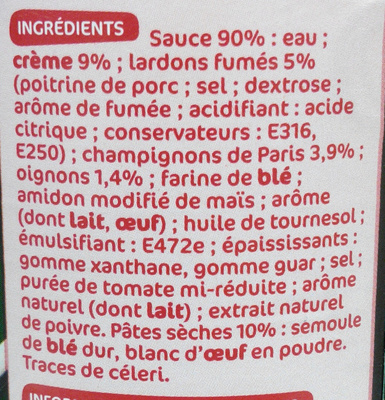 Torti carbonara turini 400 g 425 ml - Acide citrique leclerc ...