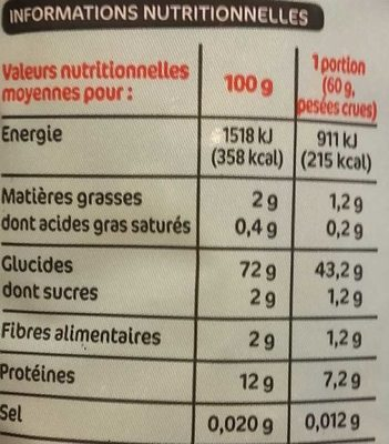 Serpentini - Informations nutritionnelles