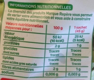 Bouquets de Mâche (1 pers.) - Informations nutritionnelles