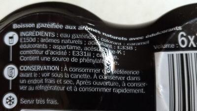 Soda cola zéro - boîte - Ingrédients