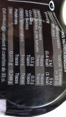 Soda cola zéro - boîte - Informations nutritionnelles
