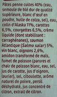 Duo colin d'Alaska saumon et penne - Ingrédients - fr