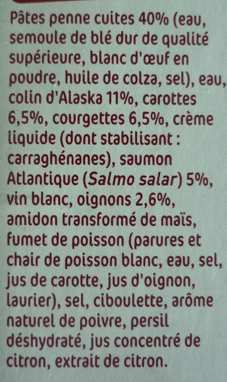 Duo colin d'Alaska saumon et penne - Ingrediënten - fr