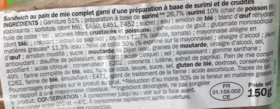 Côté snack - Plaisir & Gourmandise Surimi Crudités - Ingrédients - fr