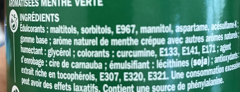 Chewing gum menthe verte sans sucres - box 70 dragées - Ingrédients - fr