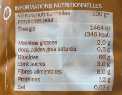 Penne Rigate au blé complet - Nutrition facts