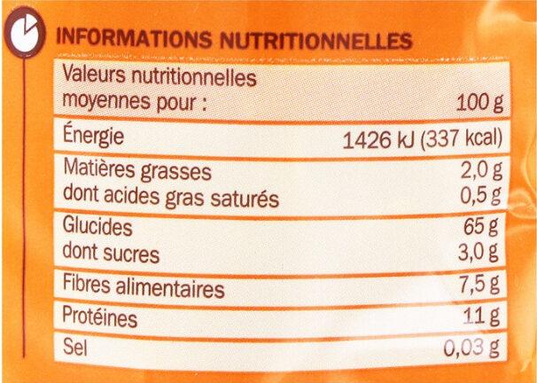 Penne au blé complet - Informations nutritionnelles - fr
