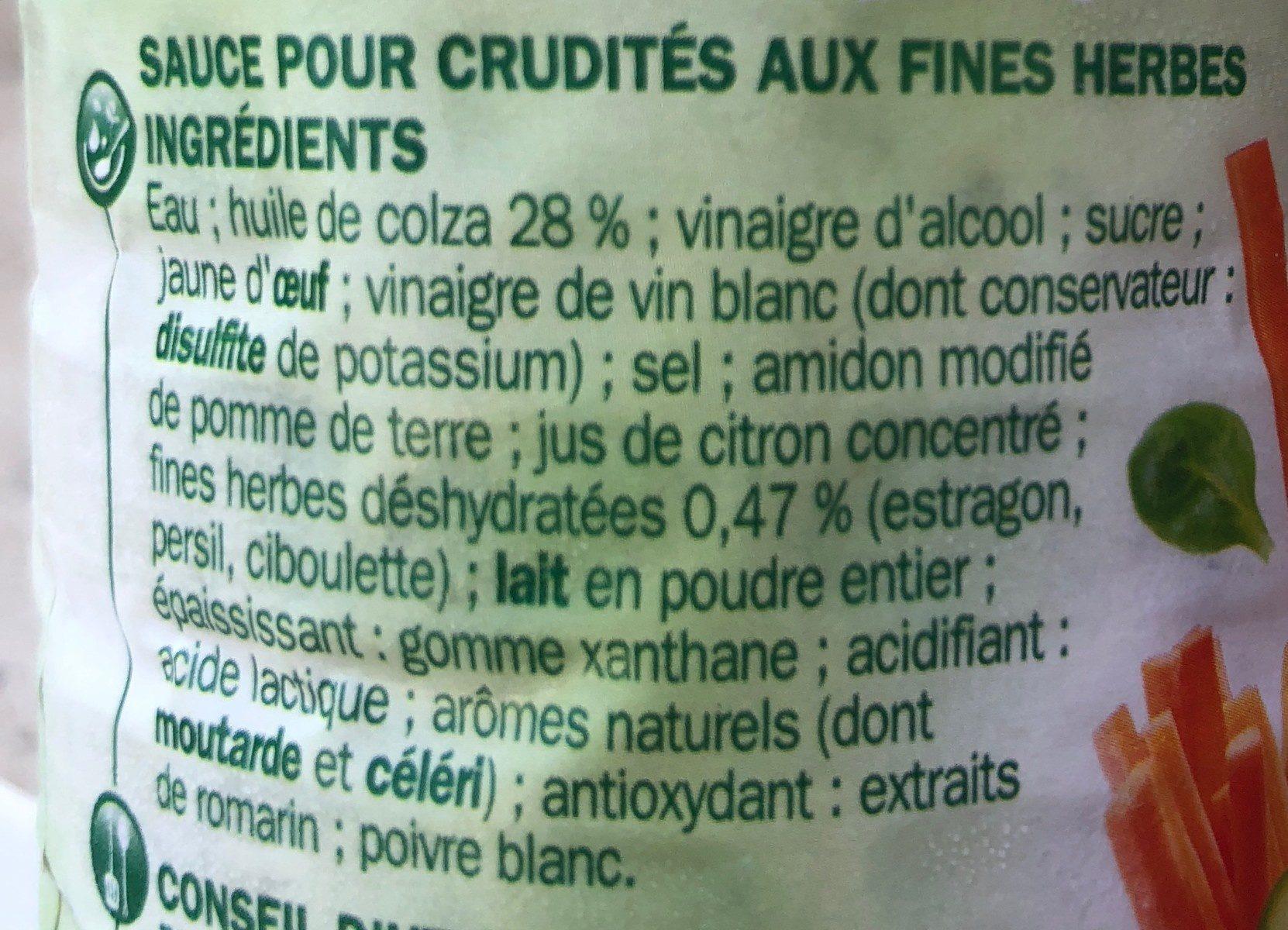 Sauce crudité fines herbes - Ingrediënten