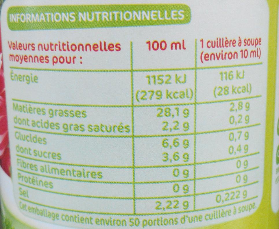 Sauce crudité fines herbes - Voedigswaarden