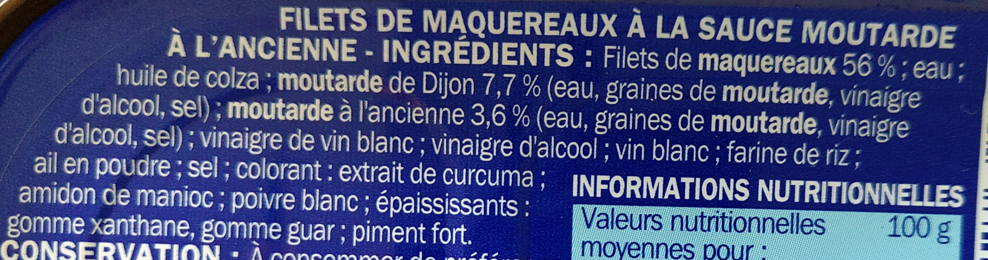 Filets maqueraux moutarde ancienne - Ingredients - fr