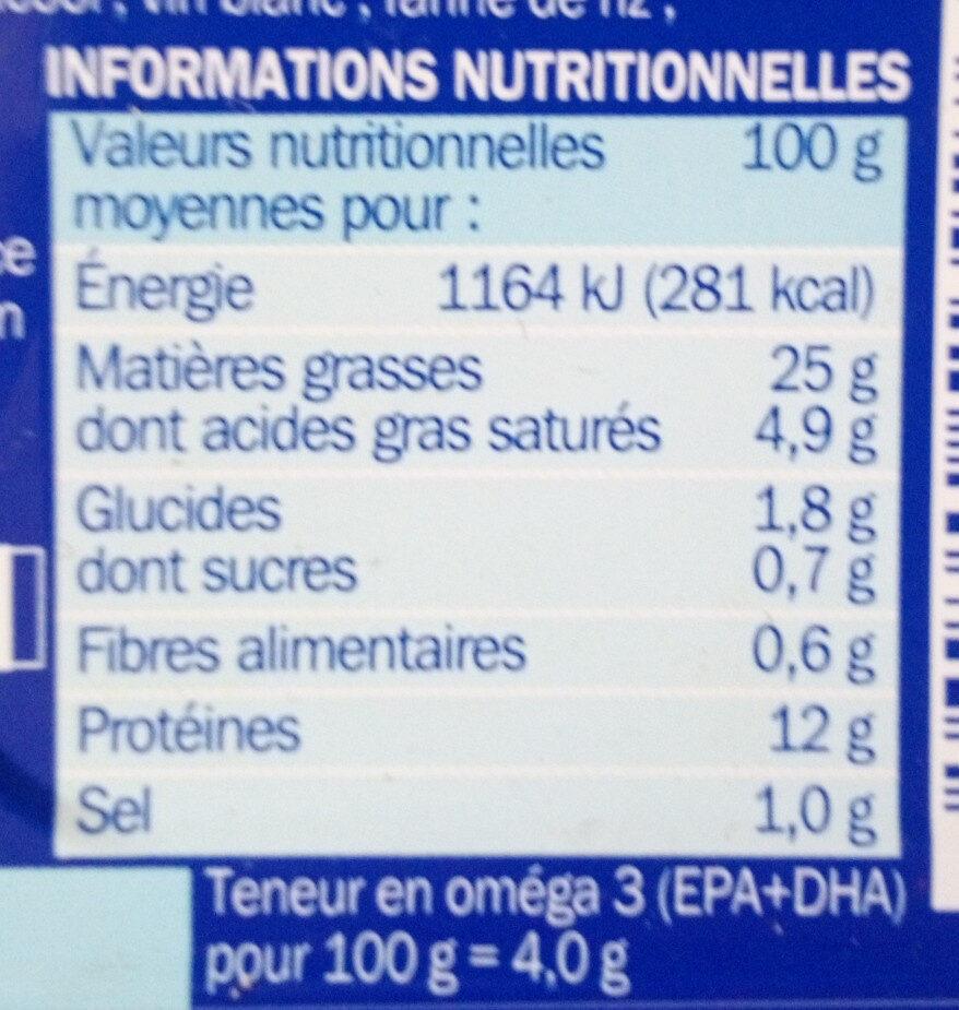 Filets de Maquereaux Sauce Moutarde à l'ancienne - Informations nutritionnelles - fr