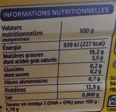 Filets de maquereaux citron olives - Voedingswaarden - fr