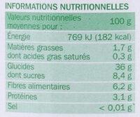 Châtaignes Entières - Voedingswaarden - fr