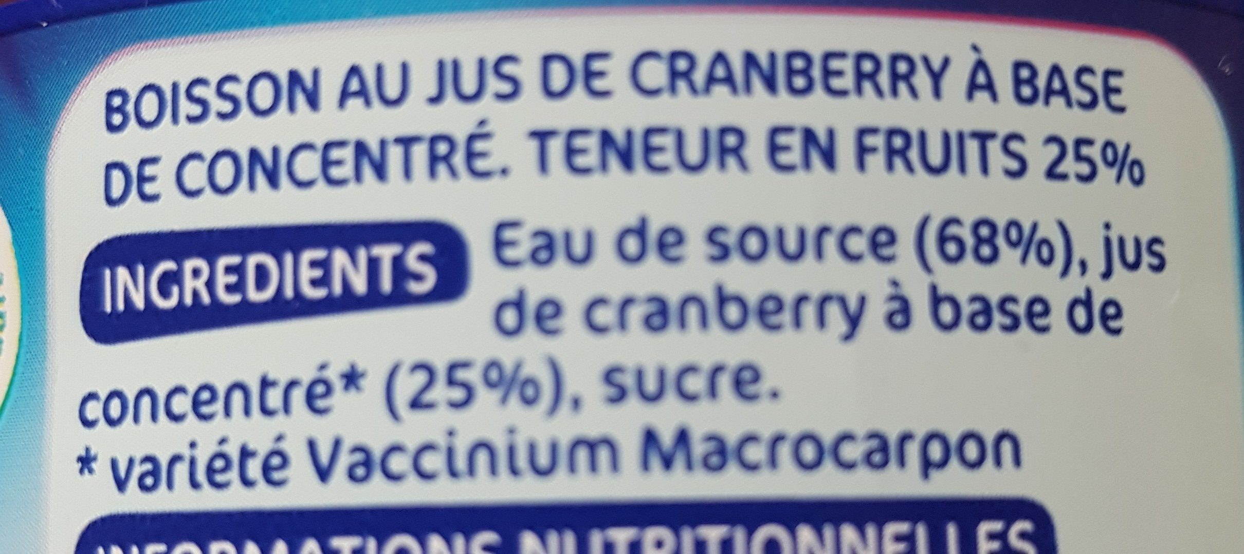 Boisson cranberry - Ingredients