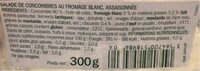Salade de concombres au fromage blanc - Voedingswaarden - fr