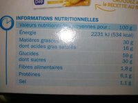 Palmiers nappe chocolat lait - Nutrition facts