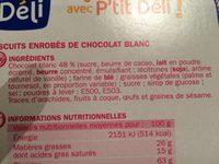 Bâtonnets chocolat blanc - Ingrediënten