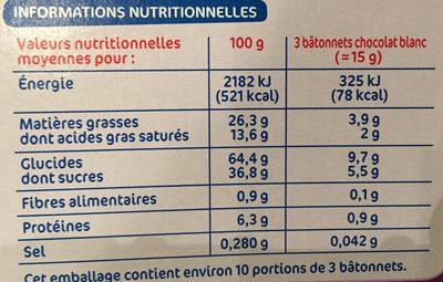 Bâtonnets chocolat blanc - Voedigswaarden