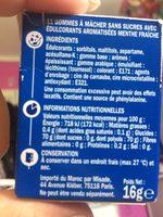 Chewing gum menthe fraîche - Ingrédients - fr
