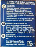 Chewing gum menthe fraîche - Informations nutritionnelles - fr